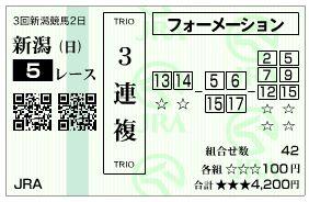 新潟5R3連複馬券
