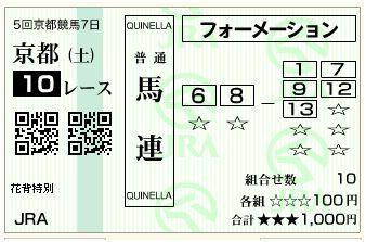 京都10R購入馬券