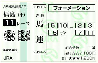 福島メイン購入馬券