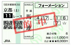 11/9京都11Rの馬券
