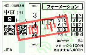 12/15中京9R当たり馬券