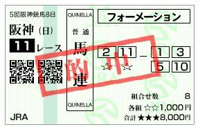 12/22阪神11R当たり馬券