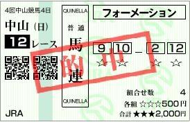 中山12R馬連の馬券