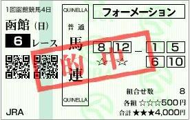 6月23日函館6R馬連